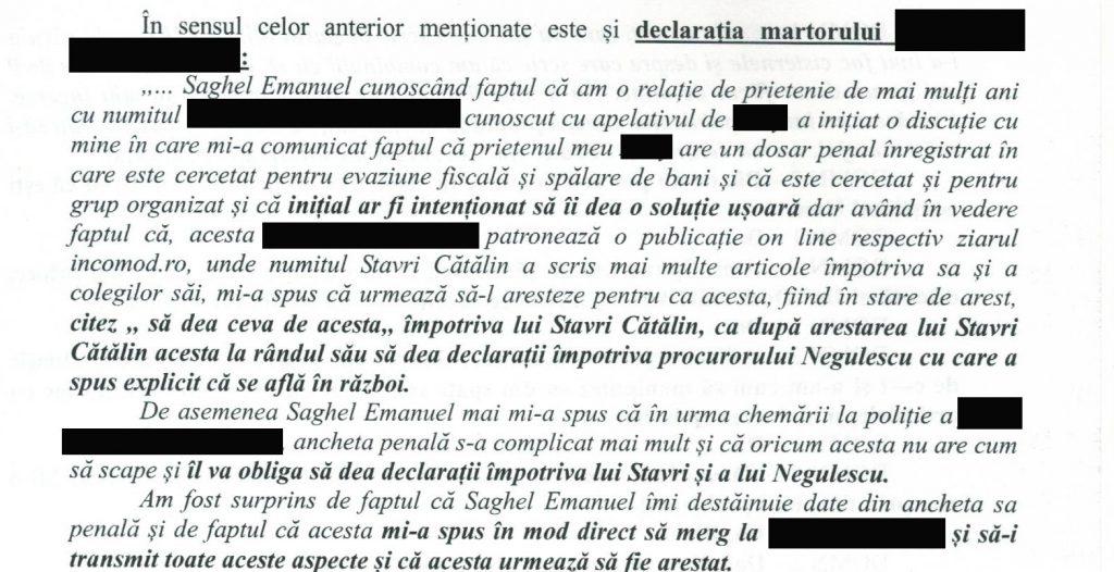declaratie martor despre dosarul facut detinatorului marcii